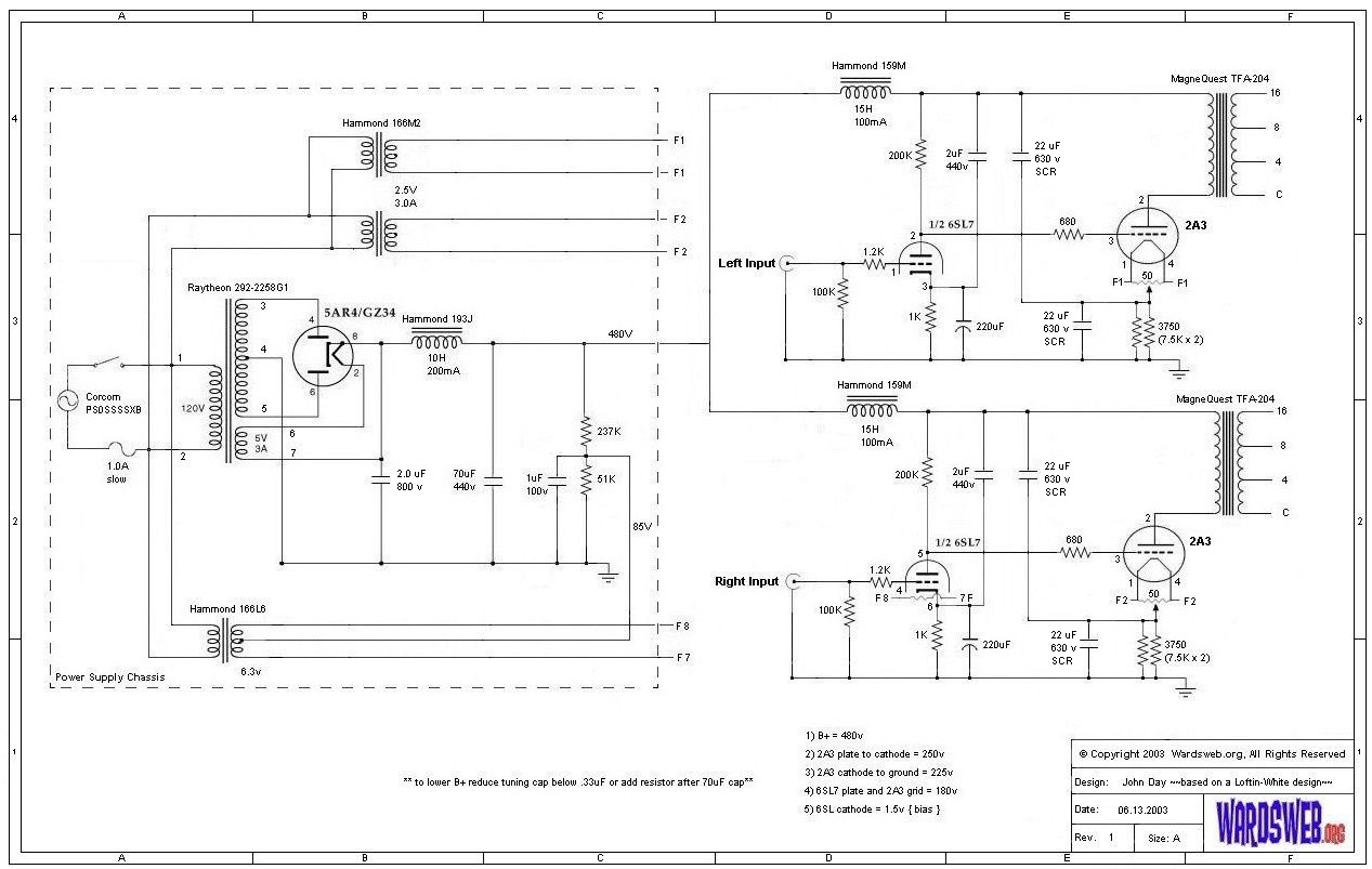 Wardsweb Custom Direct Coupled 2A3 Amp